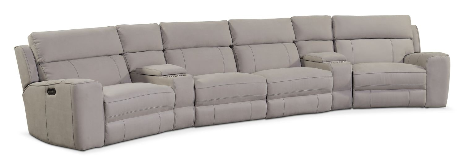 Living Room Furniture - Newport 6-Piece Power Reclining Sectional with Wedge Consoles - Light Gray