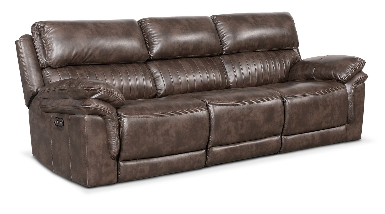 Living Room Furniture - Monterey 3-Piece Power Reclining Sofa - Brown