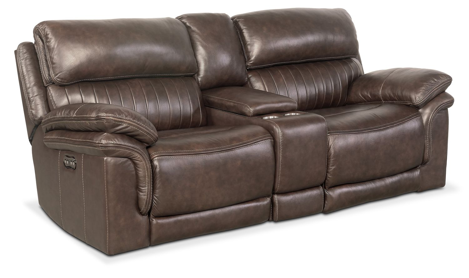 Living Room Furniture   Monterey 3 Piece Power Sofa With Console   Brown