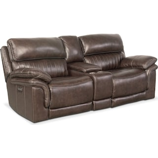 Monterey 3-Piece Power Sofa with Console - Brown
