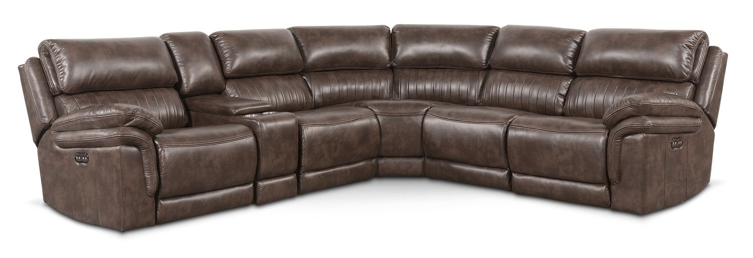 Living Room Furniture - Monterey 6-Piece Power Reclining Sectional with Three Reclining Seats - Brown