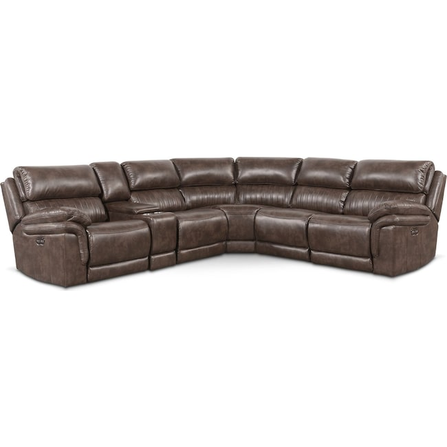 Living Room Furniture - Monterey 6-Piece Power Reclining Sectional with 3 Reclining Seats