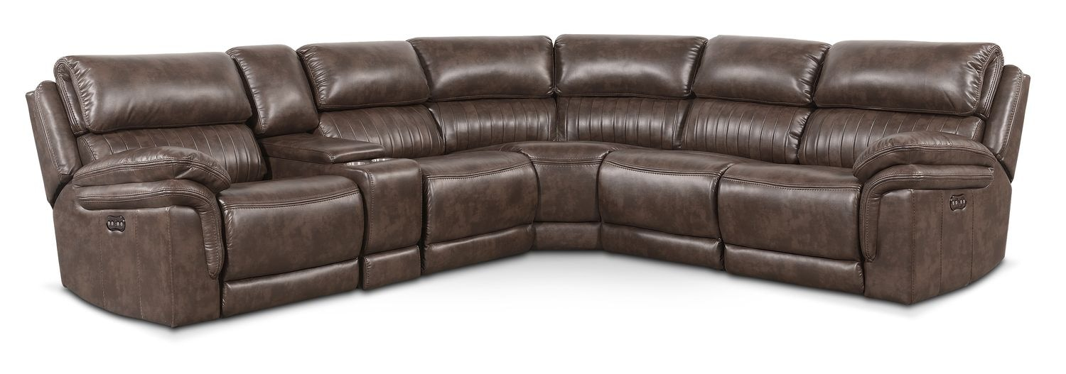 Living Room Furniture - Monterey 6-Piece Power Reclining Sectional with 2 Reclining Seats - Brown