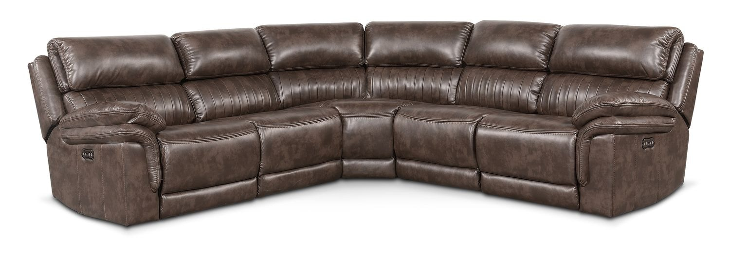 Living Room Furniture - Monterey 5-Piece Power Reclining Sectional - Brown