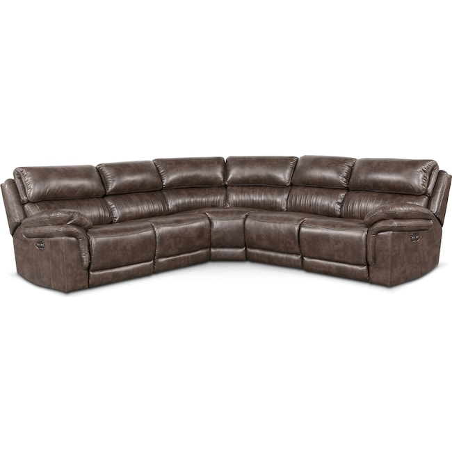 Living Room Furniture - Monterey 5-Piece Power Reclining Sectional with 2 Reclining Seats