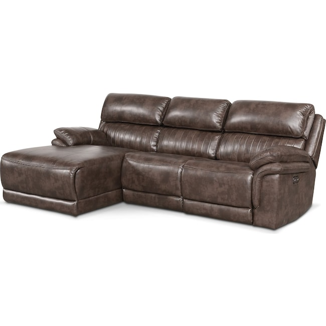 Living Room Furniture - Monterey 3-Piece Power Reclining Sectional with Left-Facing Chaise - Brown