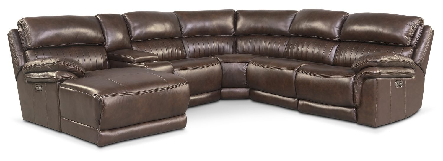 Living Room Furniture - Monterey 6-Piece Power Reclining Sectional with Left-Facing Chaise and 1 Recliner - Brown
