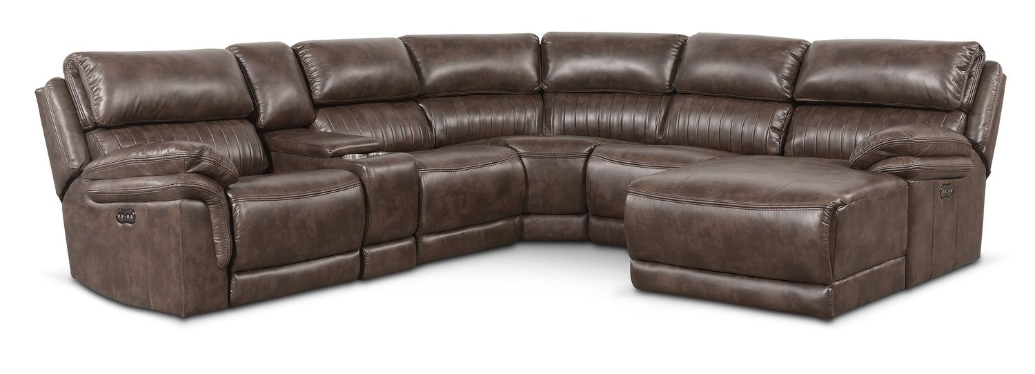 Monterey 6-Piece Power Reclining Sectional with Right-Facing Chaise and 1 Recliner - Brown