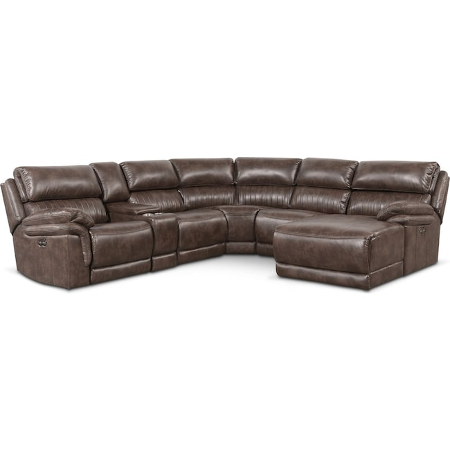 Living Room Furniture - Monterey 6-Piece Power Reclining Sectional with Right-Facing Chaise and 1 Recliner - Brown