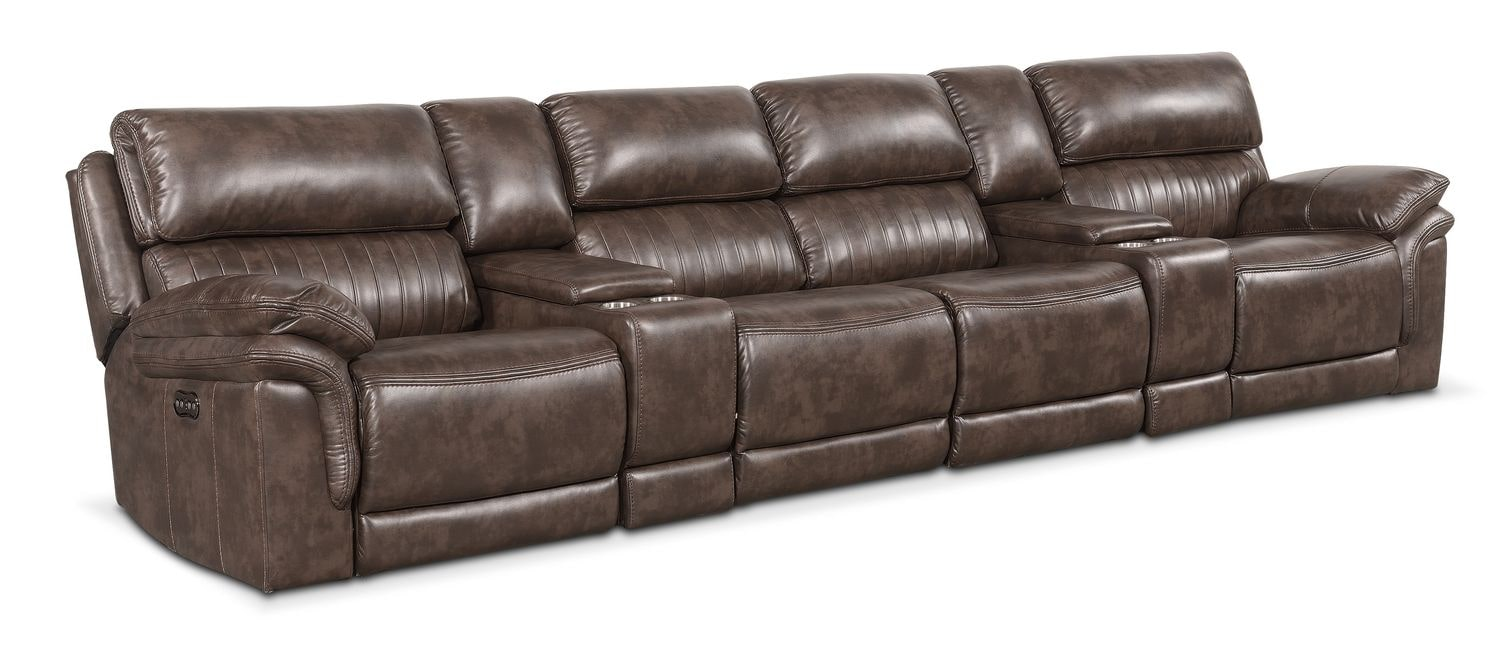 Living Room Furniture - Monterey 6-Piece Power Reclining Sectional with 4 Reclining Seats - Brown