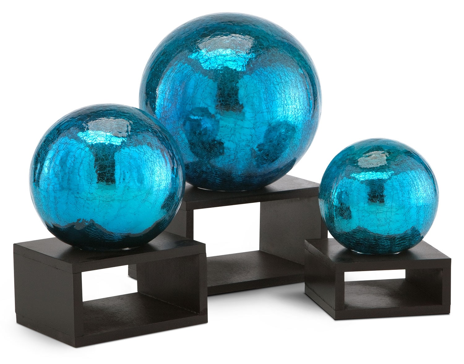 Set of 3 Crackle Balls with Stands - Turquoise