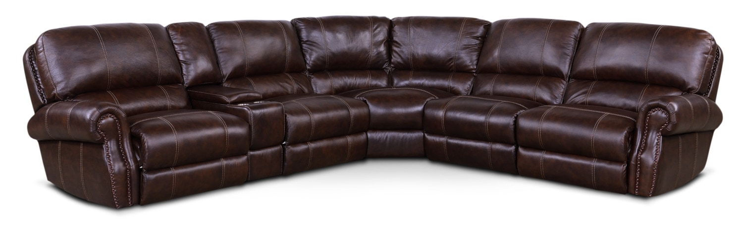 Living Room Furniture - Dartmouth 6-Piece Power Reclining Sectional with 2 Reclining Seats - Chocolate
