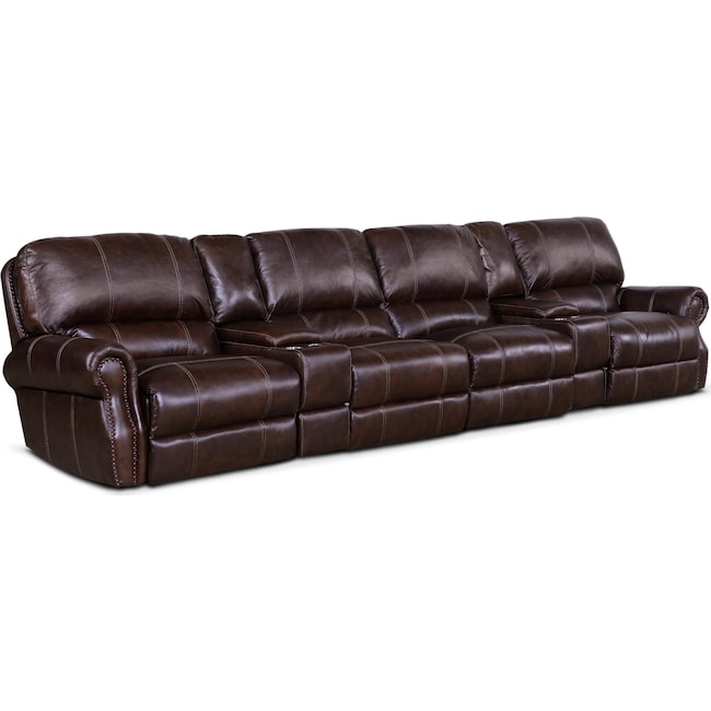Living Room Furniture - Dartmouth 6-Piece Power Reclining Sectional with 4 Reclining Seats and Chaise