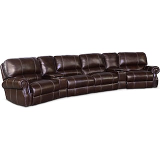 Dartmouth 6-Piece Power Reclining Sectional with 2 Wedge Consoles  - Chocolate