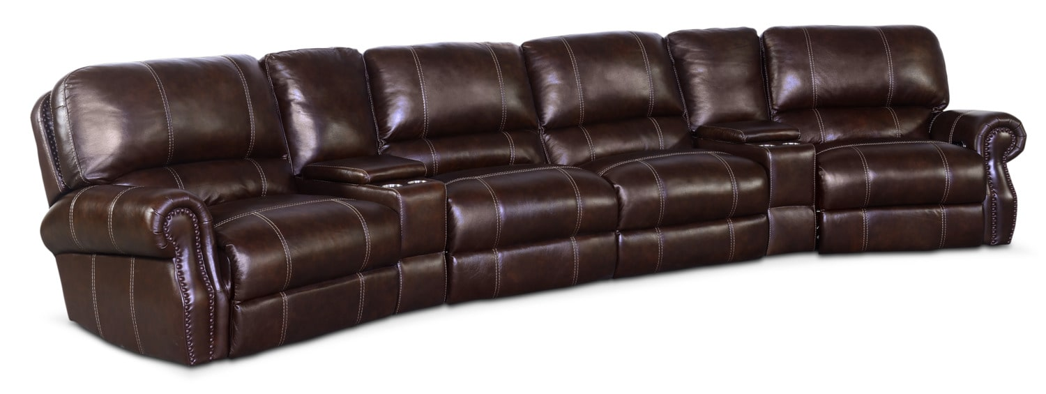 Living Room Furniture   Dartmouth 6 Piece Power Reclining Sectional With 2  Wedge Consoles