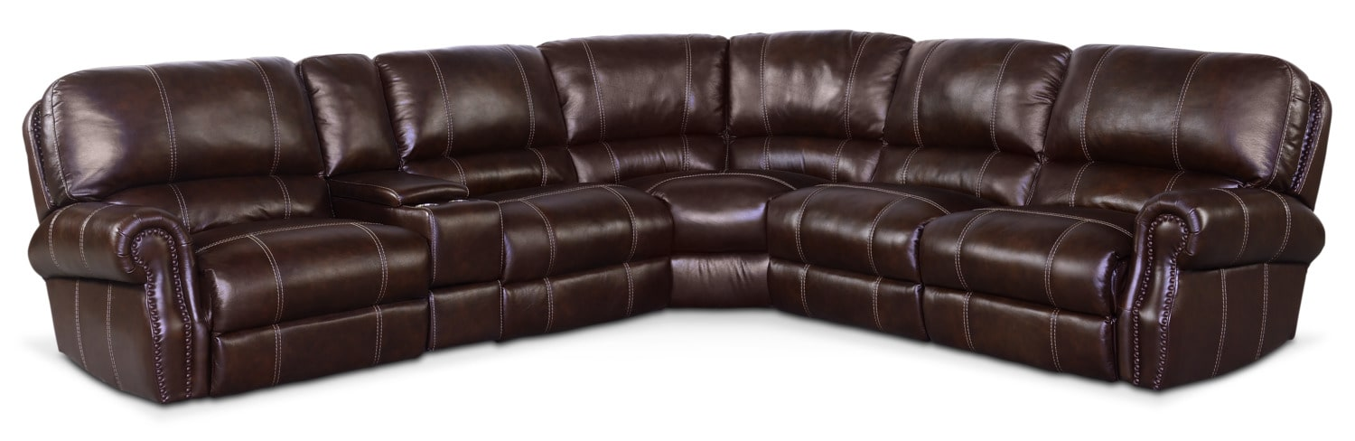 Living Room Furniture - Dartmouth 6-Piece Power Reclining Sectional with 3 Reclining Seats