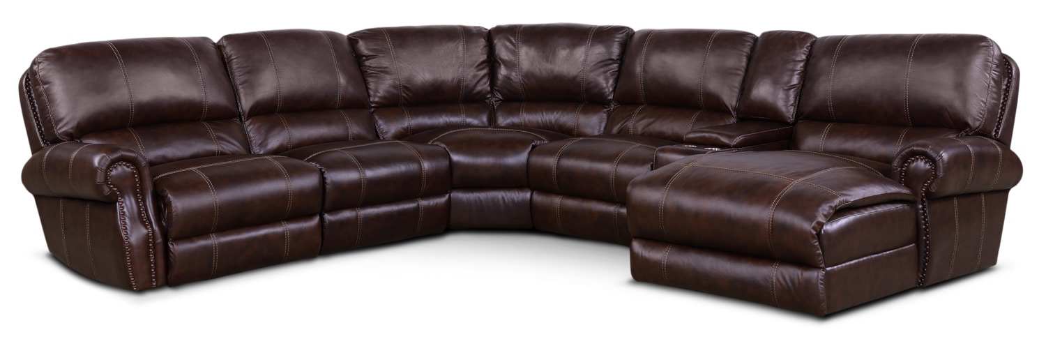 Living Room Furniture - Dartmouth 6-Piece Power Reclining Sectional with Right-Facing Chaise and 2 Recliners - Chocolate