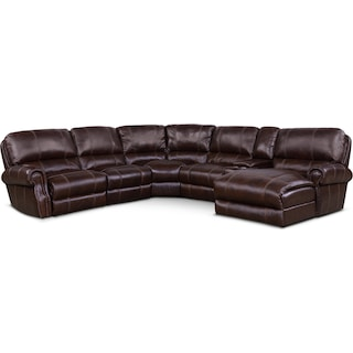 Dartmouth 6-Piece Power Reclining Sectional w/ Right-Facing Chaise and 2 Reclining Seats - Chocolate