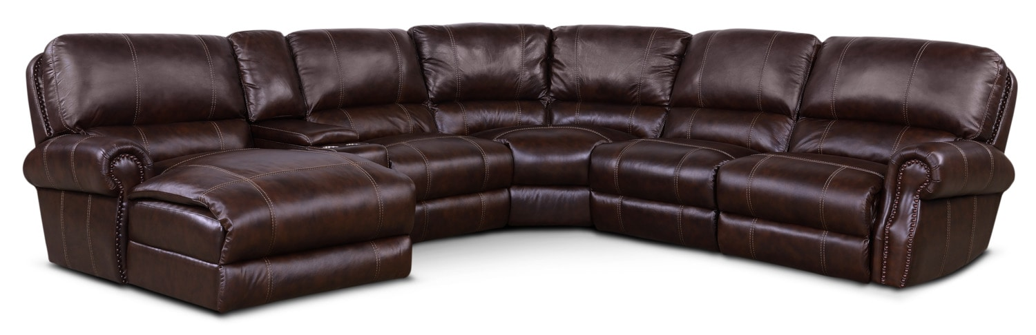 Living Room Furniture - Dartmouth 6-Piece Power Sectional with Left-Facing Chaise and 2 Recliners - Chocolate