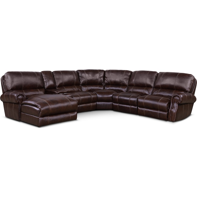 Living Room Furniture - Dartmouth 6-Piece Power Reclining Sectional with 2 Reclining Seats and Chaise