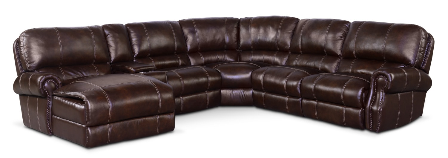 Living Room Furniture - Dartmouth 6-Piece Power Reclining Sectional with Left-Facing Chaise and 1 Recliner - Chocolate