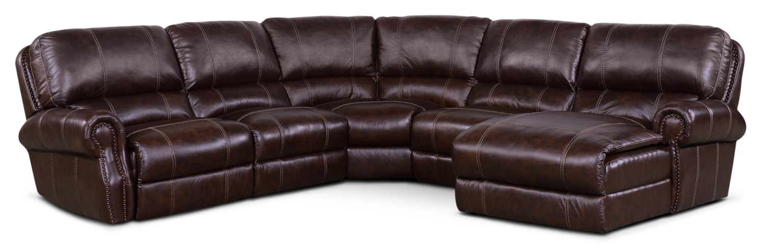 Living Room Furniture - Dartmouth 5-Piece Power Reclining Sectional with Right-Facing Chaise and 1 Recliner - Chocolate