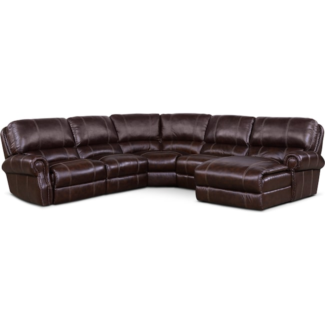 Living Room Furniture - Dartmouth 5-Piece Power Reclining Sectional w/ Right-Facing Chaise and 1 Reclining Seat - Chocolate