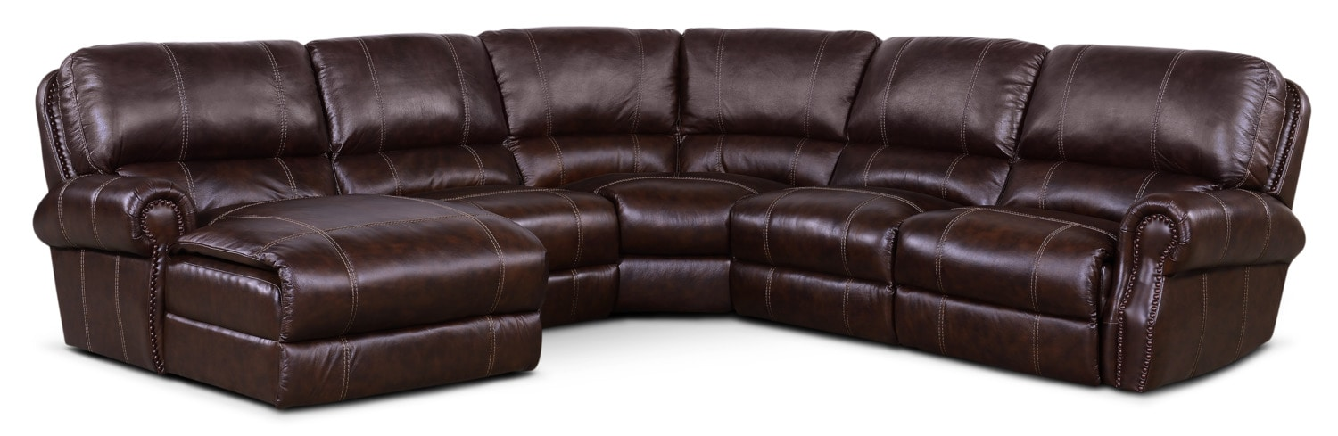 Living Room Furniture - Dartmouth 5-Piece Power Reclining Sectional w/ Left-Facing Chaise and 1 Reclining Seat - Chocolate