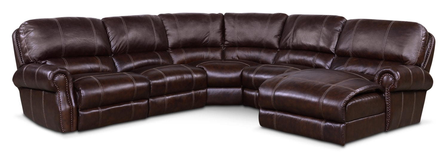 Living Room Furniture - Dartmouth 5-Piece Power Reclining Sectional with Right-Facing Chaise and 2 Recliners - Chocolate
