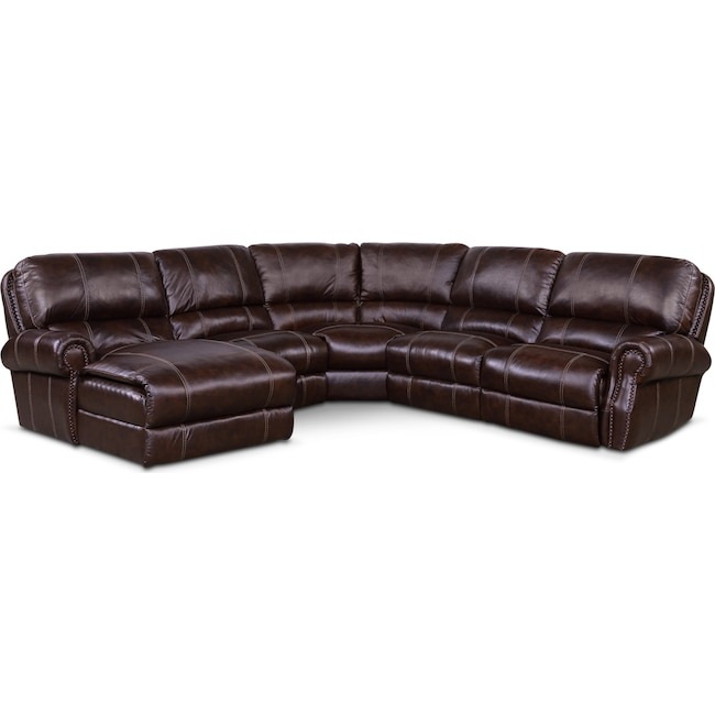 Living Room Furniture - Dartmouth 5-Piece Power Reclining Sectional w/ Left-Facing Chaise and 2 Reclining Seats - Chocolate