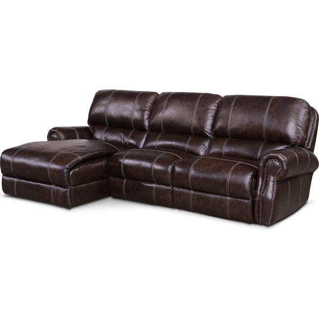 Living Room Furniture - Dartmouth 3-Piece Dual-Power Reclining Sectional with Chaise and 1 Reclining Seat