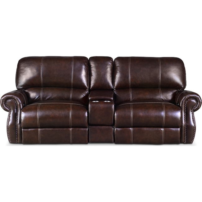 Living Room Furniture - Dartmouth 3-Piece Power Reclining Sofa with Console - Chocolate
