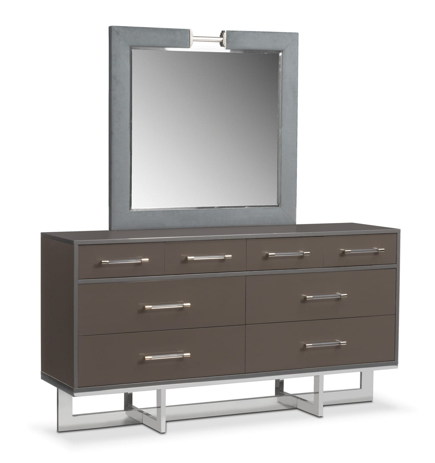 Bedroom Furniture - Sonata Dresser and Mirror - Gray