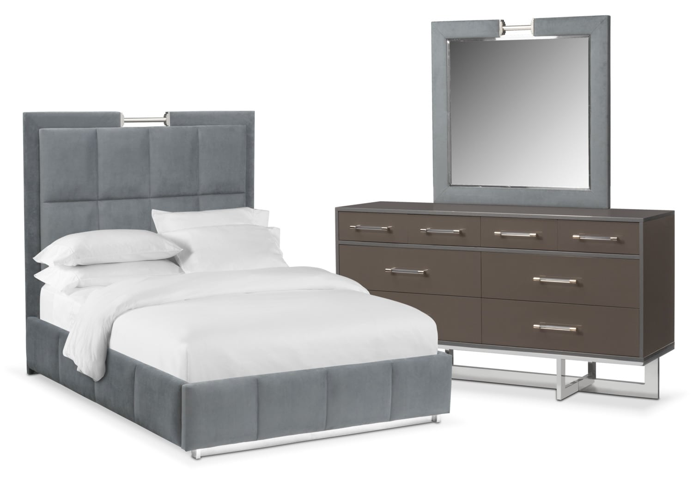 Bedroom Furniture - Sonata 5-Piece King Bedroom Set - Gray