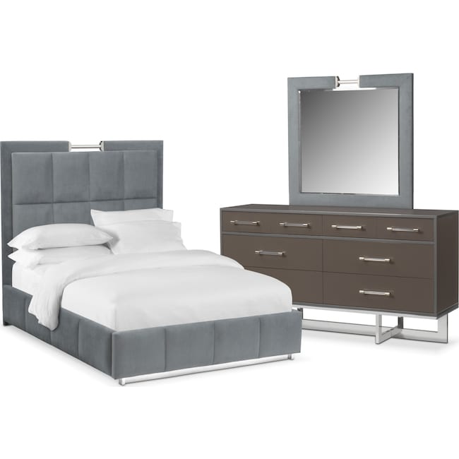 Bedroom Furniture - Sonata 5-Piece King Bedroom Set - Gray