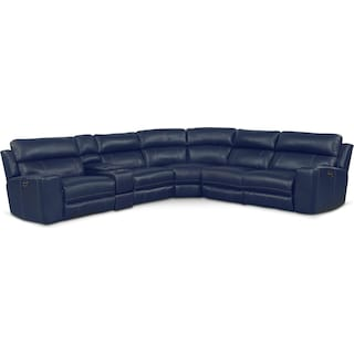 Newport 6-Piece Power Reclining Sectional with 2 Reclining Seats - Blue