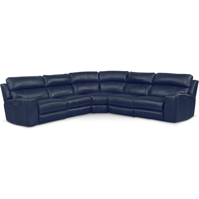 Living Room Furniture - Newport 5-Piece Power Reclining Sectional with 2 Reclining Seats - Blue