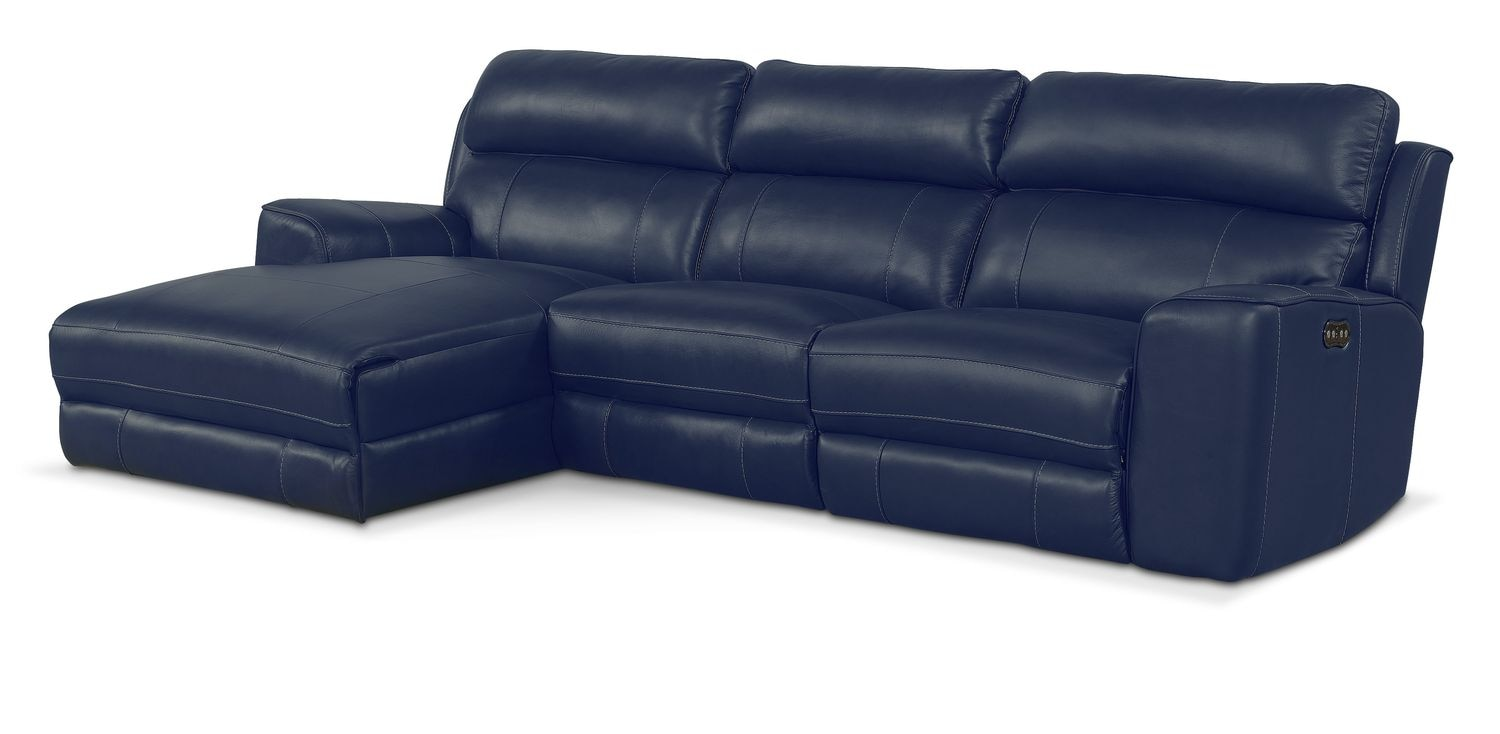 newport 3 piece power reclining sectional with left facing chaise blue value city furniture. Black Bedroom Furniture Sets. Home Design Ideas