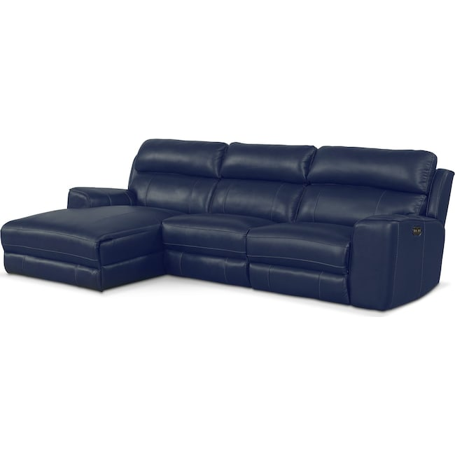 Living Room Furniture - Newport 3-Piece Power Reclining Sectional with Left-Facing Chaise - Blue