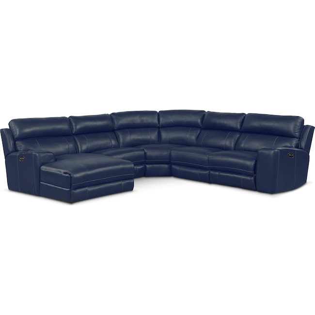 Living Room Furniture - Newport 5-Piece Power Reclining Sectional with Left-Facing Chaise and 2 Recliners - Blue