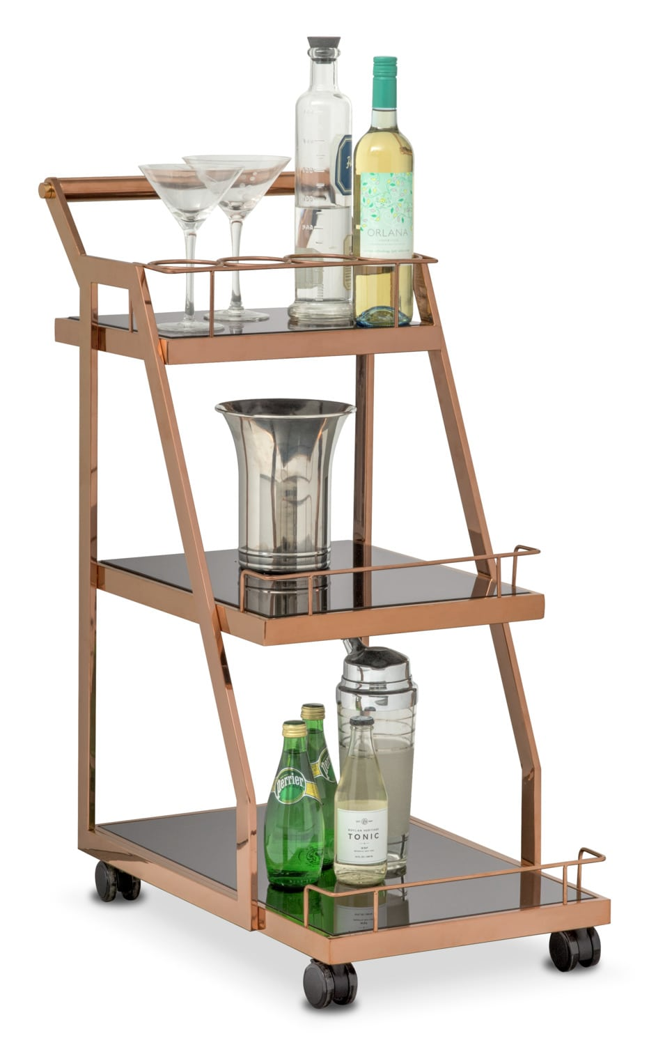 Trente Wine Cart - Rose Gold