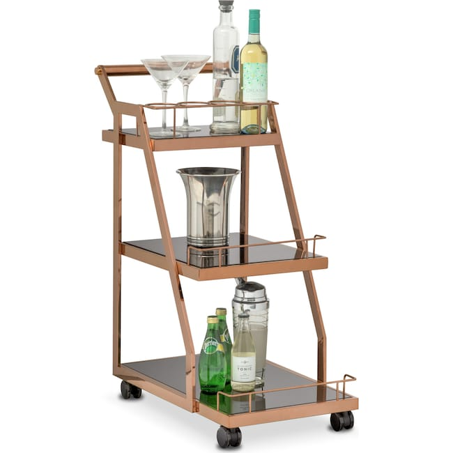 Accent and Occasional Furniture - Trente Wine Cart - Rose Gold