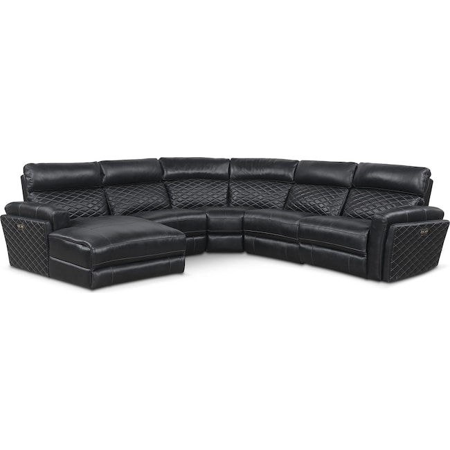 Living Room Furniture - Catalina 5-Piece Power Reclining Sectional with Left-Facing Chaise and 2 Recliners - Black