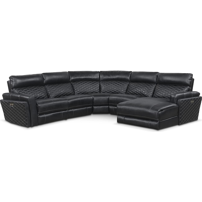 Living Room Furniture - Catalina 5-Piece Power Reclining Sectional with Right-Facing Chaise and 1 Recliner - Black