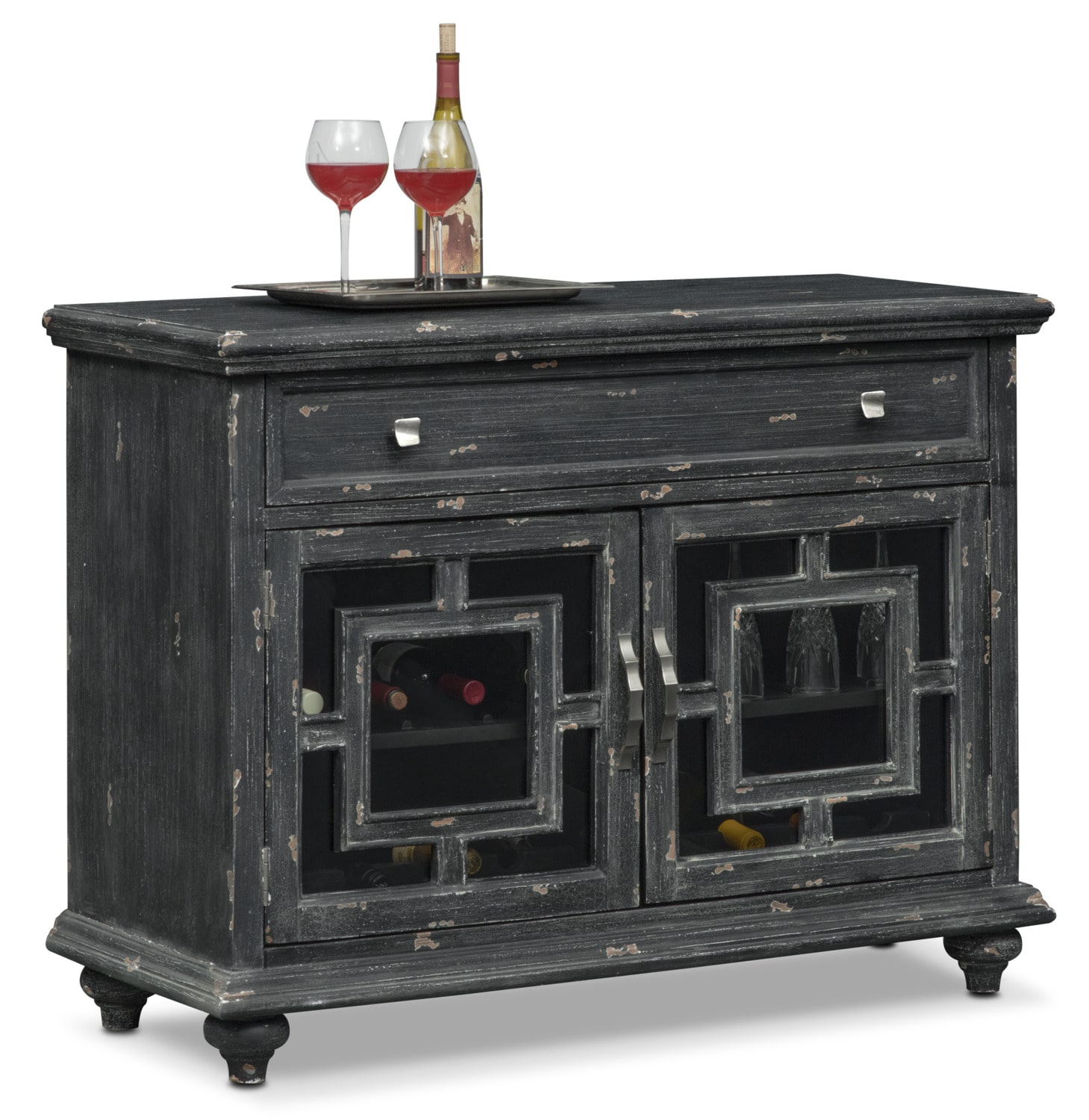 Accent and Occasional Furniture - Regina Wine Cabinet - Black