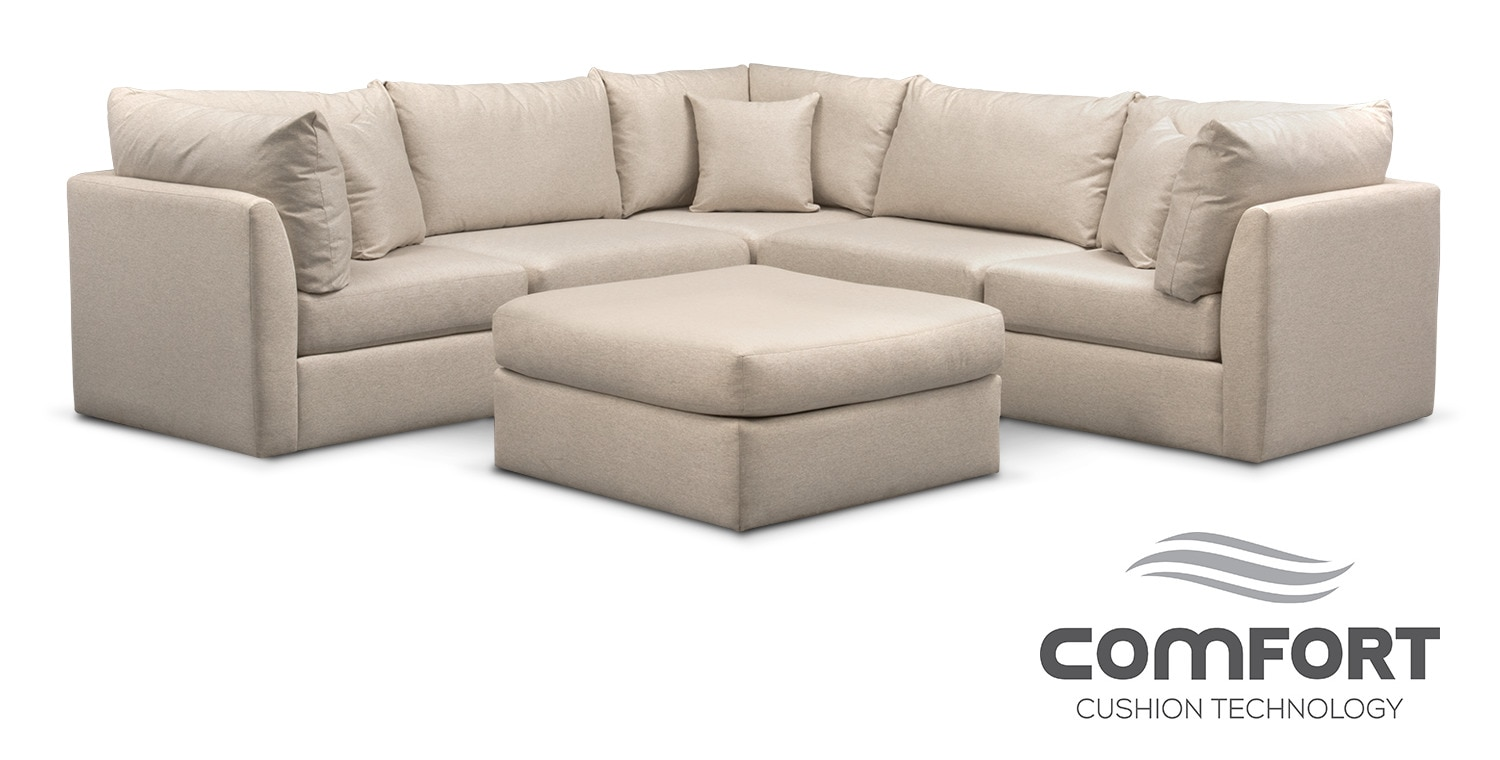 Trenton Comfort 5-Piece Sectional and Ottoman Set - Linen