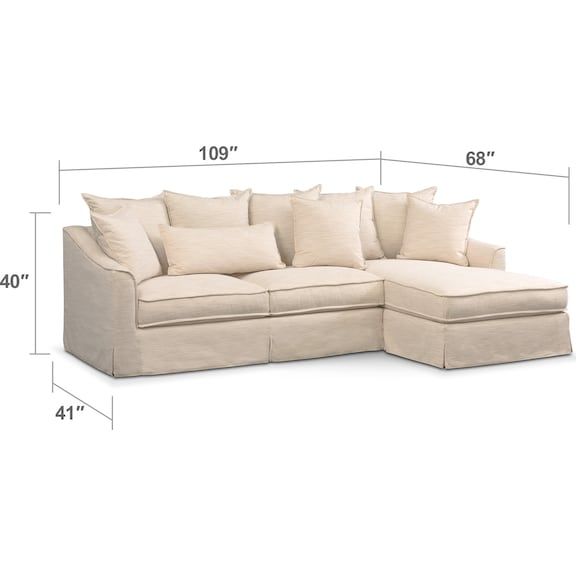 Living Room Furniture - Brooke Cumulus 2-Piece Sectional with Right-Facing Chaise - Ivory