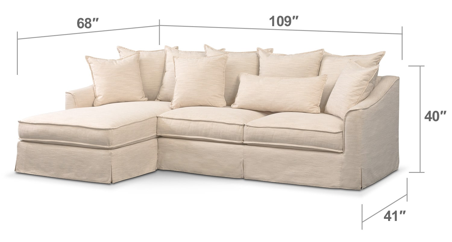 Living Room Furniture - Brooke Cumulus 2-Piece Sectional with Left-Facing Chaise - Ivory