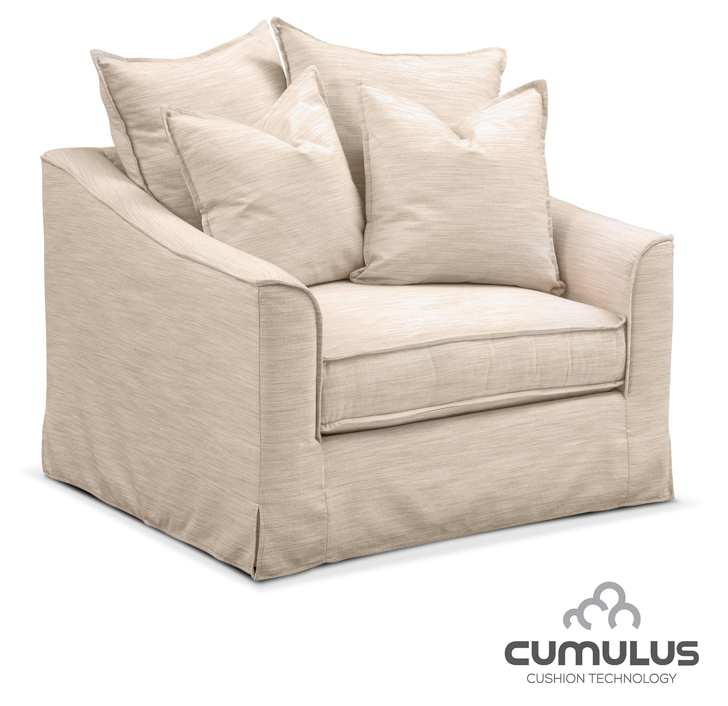 Living Room Furniture - Brooke Cumulus Chair and a Half - Ivory