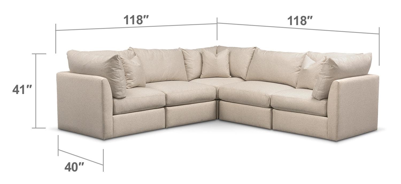 Living Room Furniture - Trenton Cumulus 5-Piece Sectional - Linen